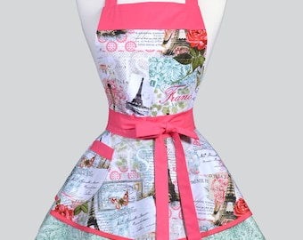 Womens Ruffled Retro Apron - French Eiffel Tower Pink Jade Womans Vintage Style Pinup Kitchen Apron with Pocket to Personalize or Monogram