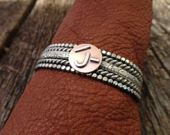 Custom Ranch Brand Bracelets--Set of 5--Sterling Silver and Copper--Custom Cattle Brand--Handcrafted