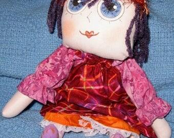 JKW Primitive Handmade Prim Raggedy Ann Annie Folk Art Cloth DOLL with Bloomers