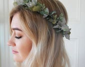 Bridal halo, Fern Headpiece, Vine Halo, Rustic Flower Crown, Greenery Crown, Bridal Flower Crown, grey crown, gray crown, rustic headpiece