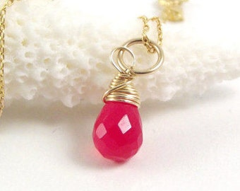 Raspberry Chalcedony Pendant Wrapped in 14k Gold Fill ~ Handmade Necklace ~ AdoniaJewelry