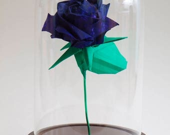 Eternal rose origami dark purple rose in large decorative globe
