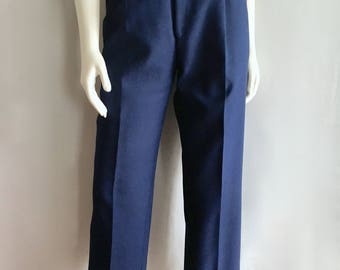 Vintage Women's 80's Bend Over Levi's, Navy Blue Pants, High Waisted, Pleated (M)
