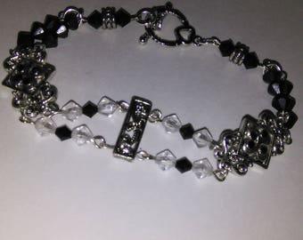 Silver Pewter Black and Gray Swarovski Crystal and Crystal Beaded Bracelet- J/BRA-019