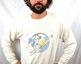 Nice Vintage Mickey Mouse Disney 80s White Ski Sweatshirt