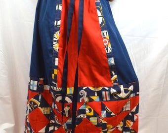 Vintage 70s Handmade Nautical Sailboat Quilted Patchwork Skirt