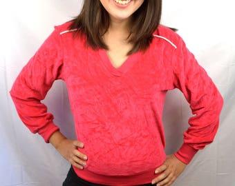 Vintage 80s Pink Super Soft Velvet Track Sweatshirt