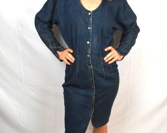 Vintage 1980s 80s Denim Paris Blues Denim Dress