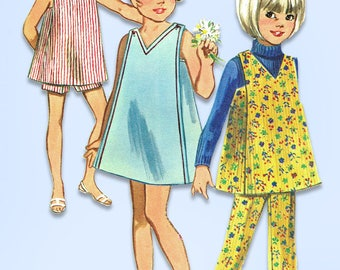 1960s Vintage Butterick Sewing Pattern 5141 Toddler Girls Dress Top Pants Size 5