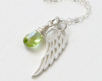 Baby Loss Jewelry / Miscarriage Necklace with August Birthstone Peridot / Sterling Silver Angel Wing / Sympathy Gift / Baby Memorial