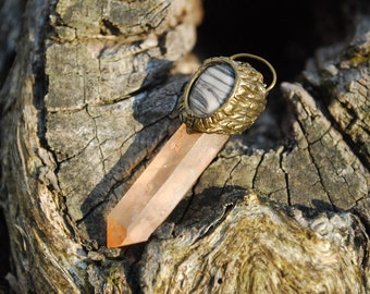 Elven Wand Nature Pendant with Tangerine Quartz Crystal point and Picasso Jasper - Boho - Gypsy - Healing - Mystical