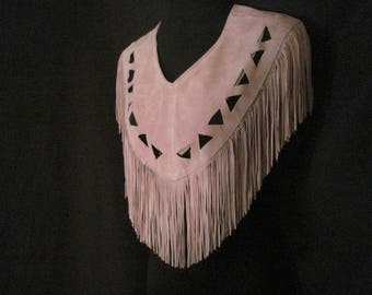 Fringed Western Poncho Scarf Accessory Vintage Pioneer Wear Boho Chic Mauve Leather Top OS