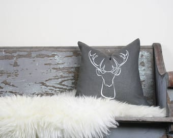 "18""x18"" Dark Gray Linen with White Ink ""Deer"" Pillow Cover"