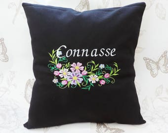 Rude word pillow-Connasse pillow- coussin connasse- humorous gift-funny cushion- floral embroideries-bitch