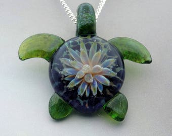 Turtle - Hand Blown Glass Sea Turtle Pendant Sea Anemone Implosion Back Lampwork Focal Bead (T7307B)