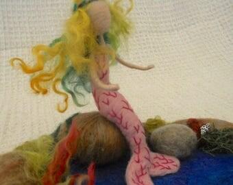 felted mermaid, mermaid sculpture, Waldorf, mermaid rock pool, play mat, play school, nursery school, kindergarten, nature table