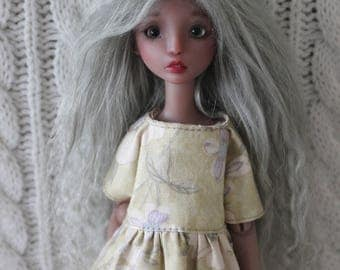 Silvery Grey mohair wig for Cerisedolls Chibi Lana or Popovy Sisters doll