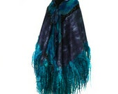 RESERVED Handmade Nuno Felted Wrap Fur Free Long Felt Scarf Hand Dyed Wool Silk Felt OOAK Gift For Her