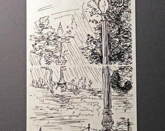 sketchbook print - Boston Public Garden 5x7 digital print