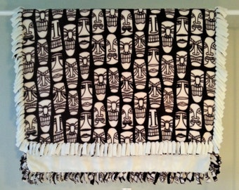 Fleece Blanket - Hand-Tied Fringe Throw - Novelty Theme - Global Masks