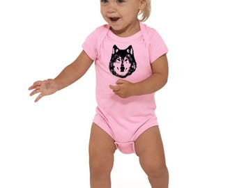Wolf Baby Shirt, Baby Shower Gift, Baby Boy Gift, Baby Girl Gift, Hand Screenprinted Baby Bodysuit, Infant Onepiece, Baby Wolf, Hipster Baby