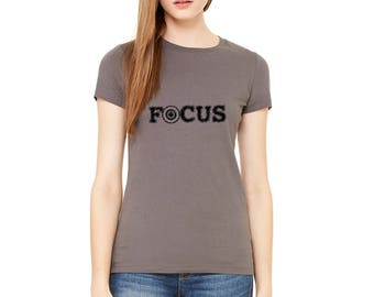 "Target Shirts For Women, Shirt with Target and the Word ""Focus"" Archery Tshirt, Shooting Shirt, Gun Shirt Short Sleeved Crewneck Graphic Tee"