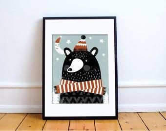 BEAR-BEAR Print // Bear Wall Art // Bear Print // Bear Illustration // Mountain Baby Nursery // Winter Baby Nursery