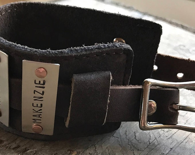 Bracelet Personalized Leather Mom Cuff Bracelet Sterling Silver Brown Leather Cuff Buckle
