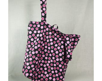 Reversible Grocery Tote in Pink Polka Dots, Designer Fabric, Triple Reinforced