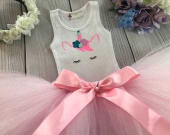 Unicorn Dress | Unicorn Birthday Tutu | Baby Tutu Skirt | Pink Unicorn Tutu by Strawberrie Rose | 1st Birthday Tutu | Unicorn Shirt