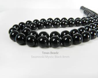 50pcs 8mm Black Pearls Swarovski Crystal Pearls Mystic Black Round Loose Pearl Beads Elements 5810