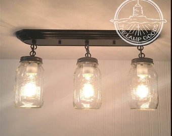 Mason jar track lighting with vintage quarts mason jar light rectangular trio with new quarts flush mount ceiling fixture rustic farmhouse glass mozeypictures Choice Image