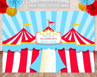 PRINTED Circus Print, Poster or Backdrop, Carnival Poster, Carnival Backdrop, Circus Birthday, Customized w/ Your Wording, Printed & Shipped
