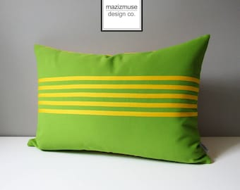 Decorative Lime Green & Yellow Outdoor Pillow Cover, Modern Striped Pillow Cover, Sunbrella Pillow Case, Cushion Cover, Mazizmuse Aligned
