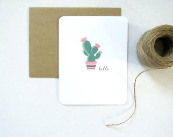 Hello Cactus Succulent Stationery Set of 8 with Envelopes Blank Inside