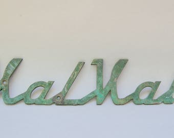 Vintage Metal Script Sign . ValVal . Antique Sign . Metal Sign Advertising . Unique
