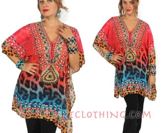 SunHeart Goddess Boho tunic Top BLING HIppie Chic Resort Wear one size Sml Med Large xl 1x