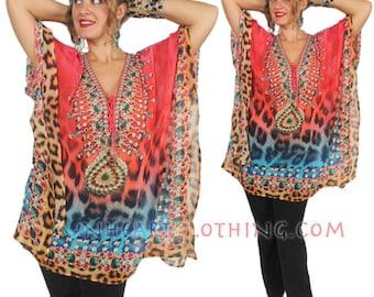 SunHeart Goddess Boho tunic Top BLING HIppie Chic Resort Wear one size Sml Med Large xl 1x 2x