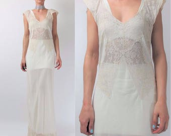 Vintage 1930s Slip Dress Cream Bridal Wedding Slip Dress Sheer Floral Lace Dress Bias Cut Nightgown Flapper Lingerie Maxi Ruffle (S/M) E9078
