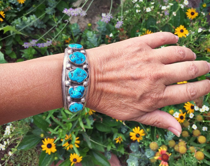 Featured listing image: Vintage turquoise nugget Navajo cuff bracelet Native American jewelry