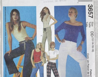 Sz DD  12 14 16 18   McCall's  Sewing Pattern 3657 Pants with Front or Back Zip