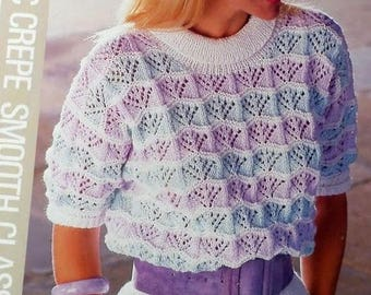 Knitting Pattern - Womens Short Sleeve Summer Top/Sweater PDF download