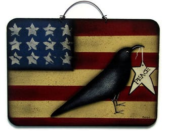 Primitive Americana Crow on Flag Sign, Handpainted Wood Wall Art, Hand Painted Prim Decor, Tole Decorative Painting