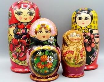 Vintage Hand Painted Russian Nesting Dolls, Matpewka, Matryoshka, Little Matron, Floral Painters, Sets of 5 and 6, Babushka, Pink, Gold, etc