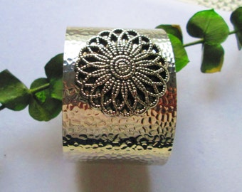 Silver Hammered Cuff Bracelet  - Silver Bracelet with Silver Flower Button - Statement Bracelet - High Fashion - High-Ho Silver Diva - Ooak