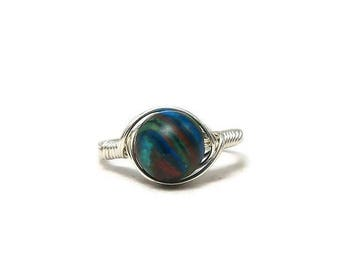 25% Off Sale LG Rainbow Casilica Argentium Sterling Silver Wire Wrapped Ring