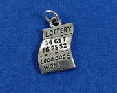 Winning Lottery Ticket Charm - Silver Plated Lottery Scratch off Ticket Charm - Gambling Casino Charm for Necklace or Bracelet