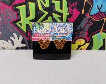 Mickey Mouse Leopard Print Stud Earrings