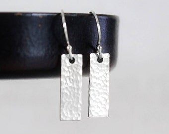 Silver Bar Earrings, Sterling Silver Tiny Bar Earrings, Hammered or Smooth Small Rectangles