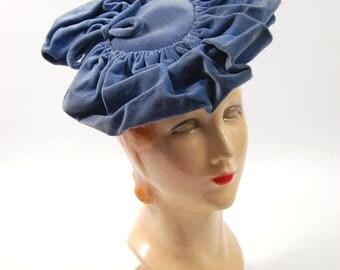 Early 1940s Velveteen Tilt hat - Periwinkle 40s hat - Velvet 40s Hat // Light Blue // Cornflower Blue Topper Platter Hat